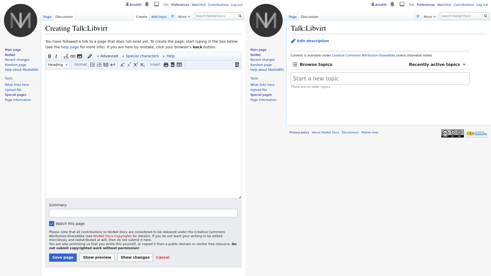 side-by-side screenshot of my wiki before and after enabling the extension. the left really is just the default content editor. it's like giving someone a text editor on a server and asking them to have a conversation with someone else by editing the same file and saving it to see replies. the right side is with the extension enabled and gives buttons to browse by topic and a field to create a new topic. it's very similar to github's issue tracker, for example, but without the ability to sort by tags